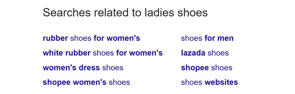 Google related searches for ladies shoes.